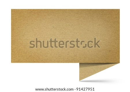 Image of textured origami speaking bubble on white - stock photo