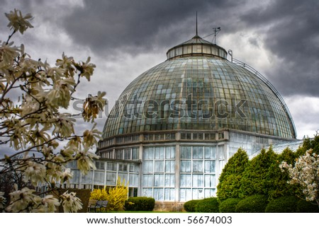 Image of the Anna Scripps Whitcomb Conservatory on Belle Isle Island Park in Detroit, Michigan. - stock photo