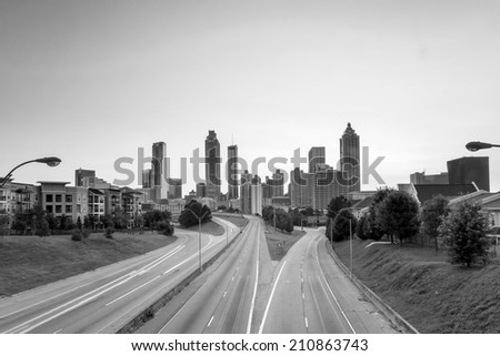 Image of the Atlanta skyline during twilight , black, white - stock photo