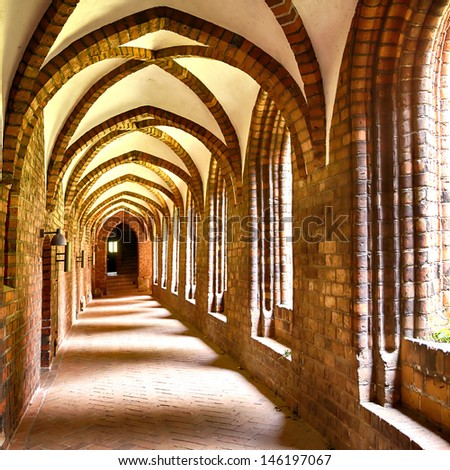 Image of the cloister arches inside the monastery of Saint Mary (Sankta Maria) in Helsingor, Denmark.  - stock photo