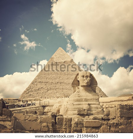 Image of the famous egyptian landmark the Sphinx. - stock photo