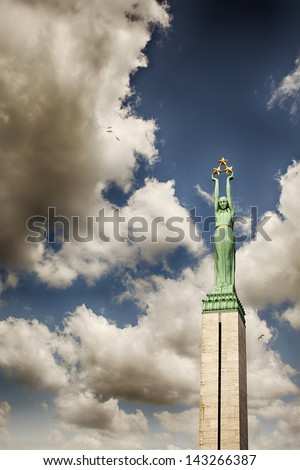 Image of the freedom monument in central Riga, Latvia. Affectionately known as Milda. - stock photo