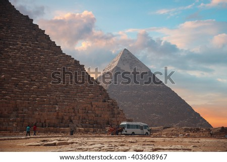 Image of the great pyramids of Giza, in Egypt. - stock photo