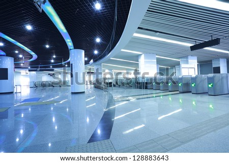 image of the interior in morden subway building - stock photo