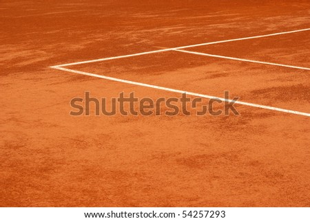 Image of the lines of a tennis court in clay - stock photo