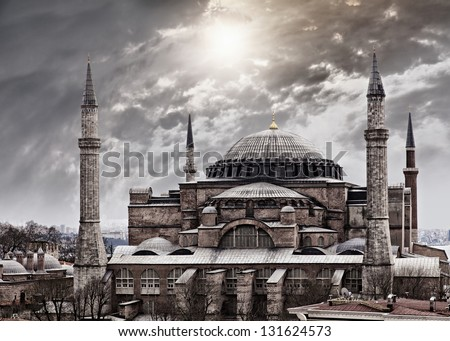 Image of the majestic Hagia Sophia in Istanbul, Turkey. - stock photo