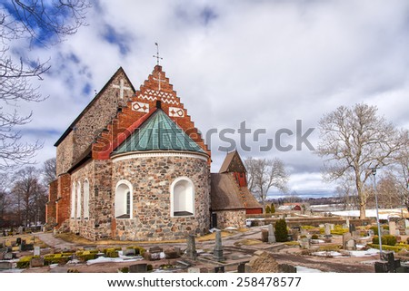 Image of the medieval church of Old Uppsala, Sweden.  - stock photo