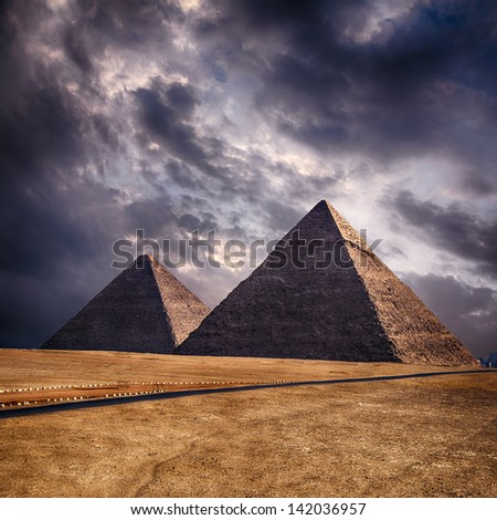 Image of the pyramids on the Giza plateau. Cairo, Egypt. - stock photo