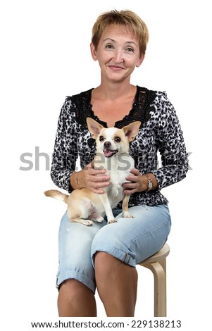 Image of the sitting old woman with the dog on white background - stock photo