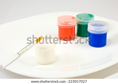 image of three colors on a plate - stock photo
