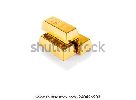 Image of three gold bars isolated on white background - stock photo