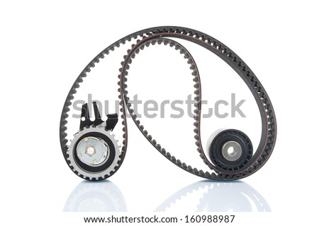 Image of timing belt with rollers selective focus - stock photo