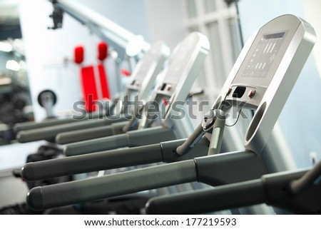 Image of treadmill in gym. Fitness and athletics - stock photo