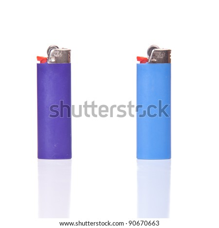 Image of two generic lighters, isolated on white with reflection. - stock photo