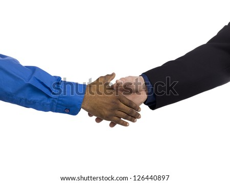 Image of two human hands will do hand snake against white background - stock photo
