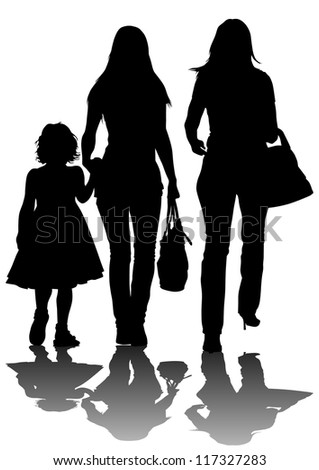 image of two women and a child - stock photo