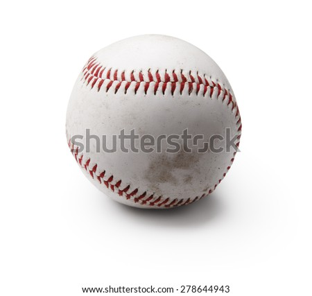 Image of used baseball isolated on white - stock photo