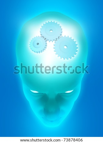Image of various gears inside of a man's head on a blue background. - stock photo