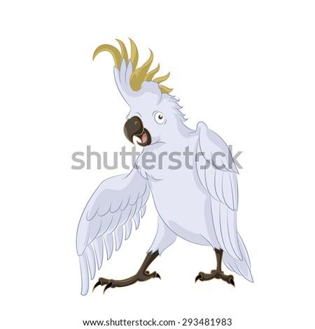 Image of very happy cartoon cockatoo, - stock photo