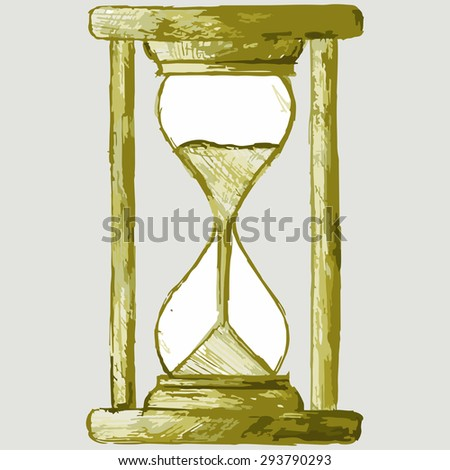 Image of vintage hourglass. Raster version - stock photo
