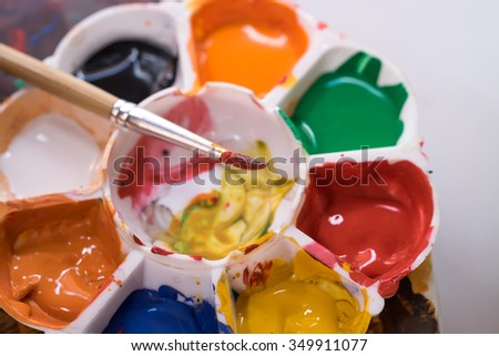 Image of water painting brush and palette for art background  - stock photo