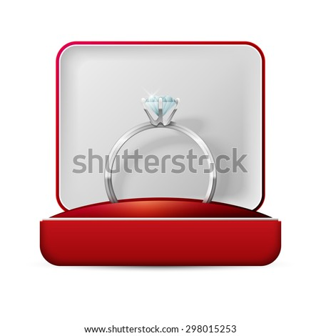image of wedding rings in a gift box on white background - stock photo