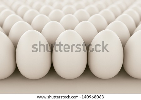 Image of white eggs arranged in rows. Perfect for anything related to healthy food, easters, eggs production and food industry in geneneral. - stock photo