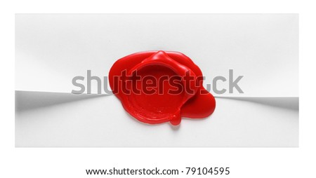 Image of white envelope with red wax stamp isolated - stock photo