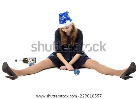 Image of woman after christmas party on white background - stock photo