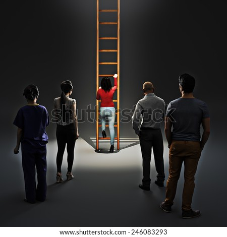 Image of woman climbing career ladder with people watching. Success and achievement - stock photo