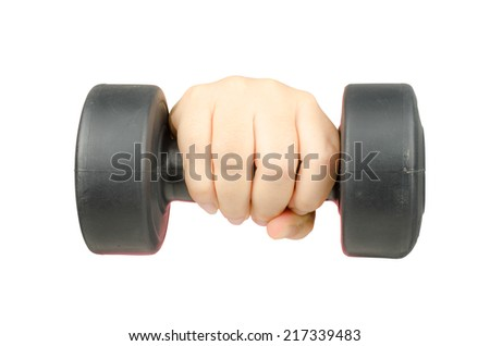 Image of woman's hand with black dumbbell - stock photo