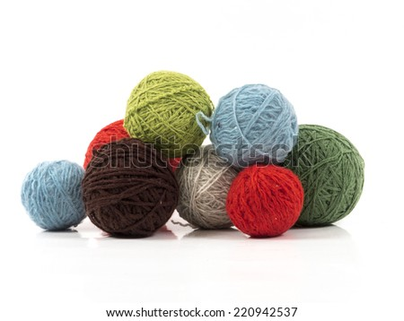 Image of wool balls colored isolated close up - stock photo