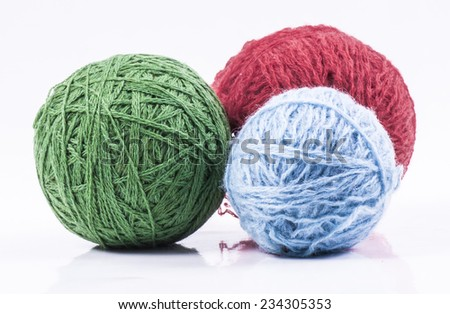 Image of wool balls isolated close up - stock photo