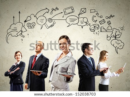 Image of young businesspeople team. Collage background - stock photo