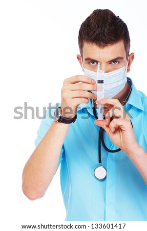 Image of young doctor who is ready to cure patient - stock photo