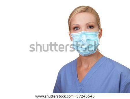 Image of young female nurse wearing face mask isolated on white - stock photo