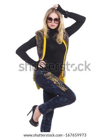 image of young girl in sunglasses posing white background - stock photo