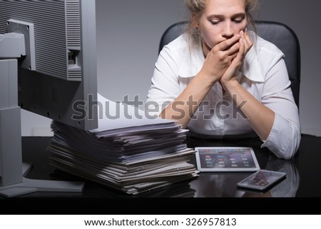 Image of young girl insanely dedicated to career - stock photo