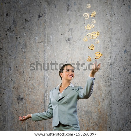 Image of young happy businesswoman. Currency concept - stock photo