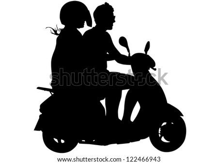 image of young men on scooters - stock photo