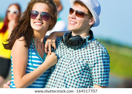 Image of young people having fun outdoors - stock photo