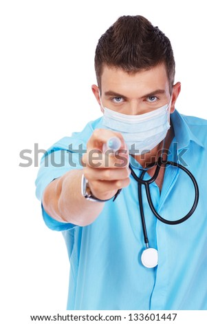 Image of young practicant who is threatening with a syringe - stock photo