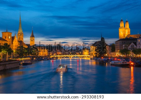 Image of Zurich during twilight blue hour. - stock photo