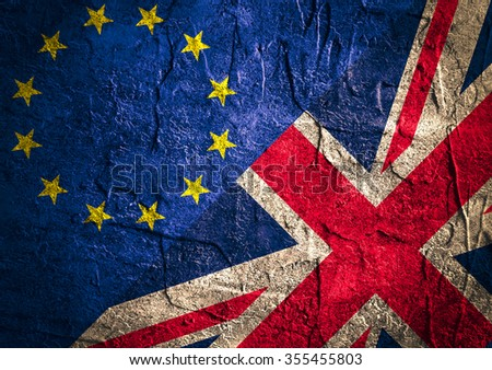 Image relative to politic relationships between Europe Union and United Kingdom. National flags on concrete textured backdrop. Brexit theme - stock photo