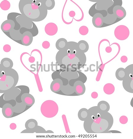 Image. Seamless bear ornament in color 208. More seamless see in portfolio  - stock photo
