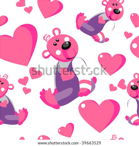Image. Seamless emo bear ornament in color 67. More seamless see in portfolio - stock photo