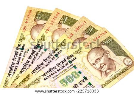 Image showing folded Indian notes of 500 isolated on white - stock photo