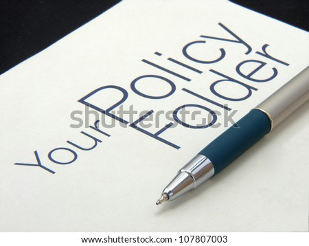 Image showing text policy Folder with pen on isolated white background. - stock photo