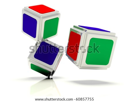 Image shown the  abstract dice with the faces of green red and blue colors - stock photo