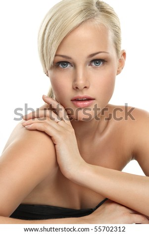 Image with beautiful blonde girl on white background close-up - stock photo